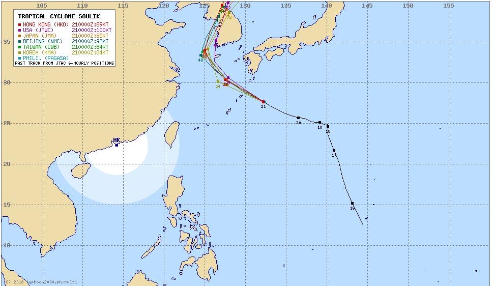 台風19号2018ソーリックの進路予想