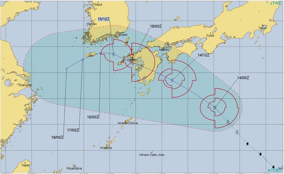 台風15号リーピ米軍の進路予測