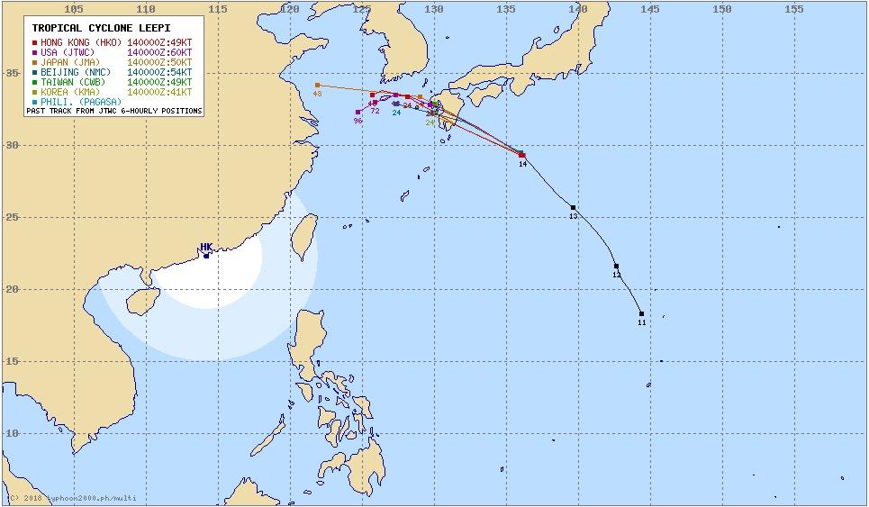 台風15号リーピ各国の進路予測