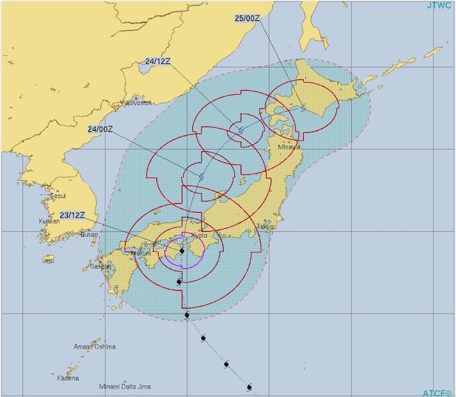台風20号シマロンの進路予想