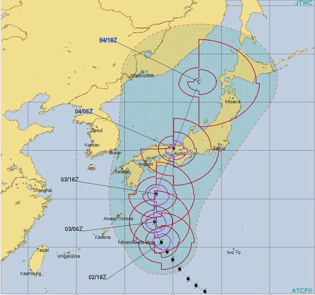 台風21号チェービー進路予想