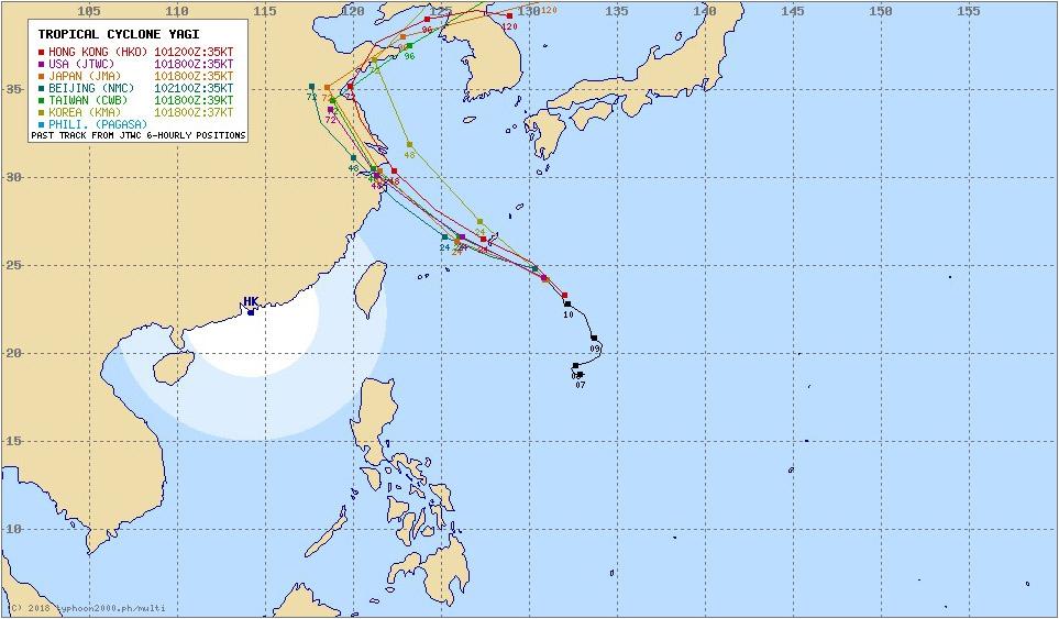 台風14号ヤギの進路予想