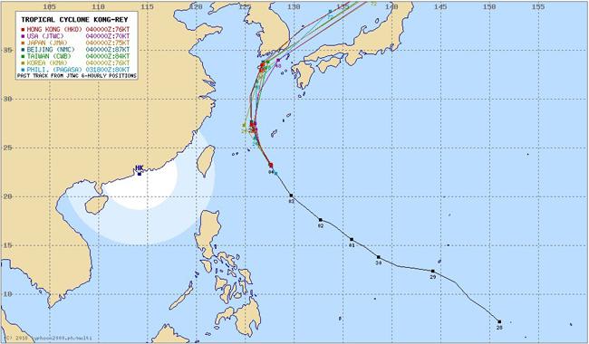 台風25号2018コンレイ各国の進路予想