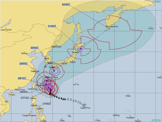 台風24号チャーミーは速度を上げながら日本を縦断しそう