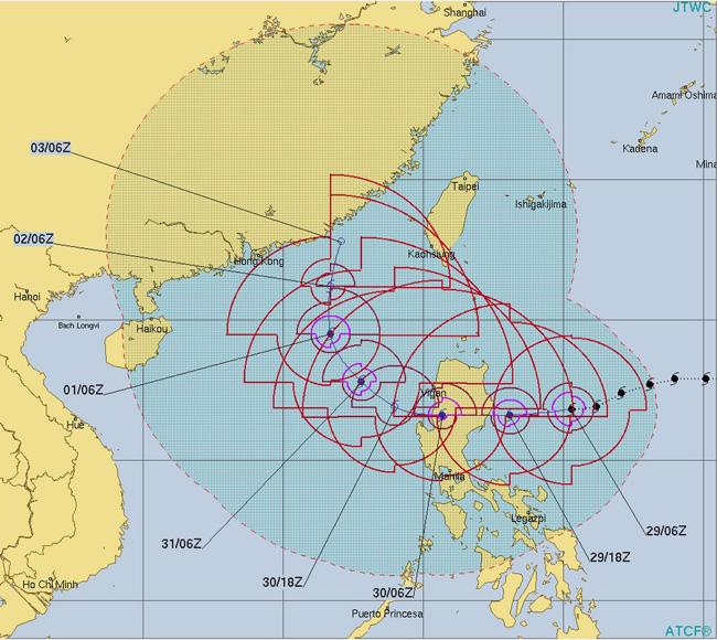 台風26号イートゥー米軍の進路予想