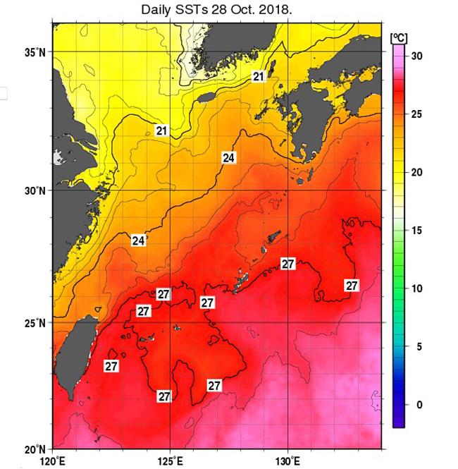 台風26号の勢力に影響する東シナ海の海水温