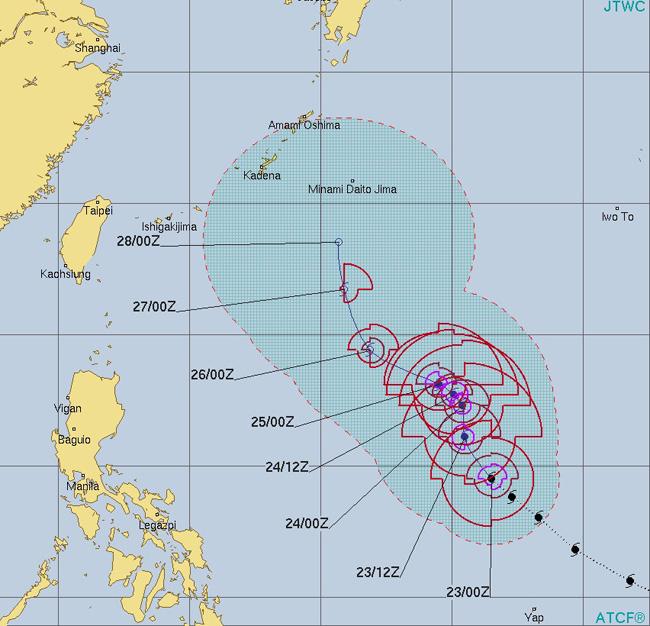 台風28号マンニィの進路予想(米軍)