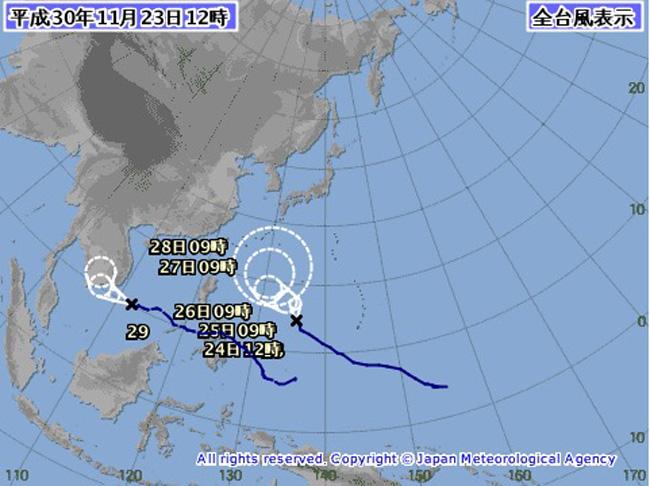 台風28号マンニィの進路予想